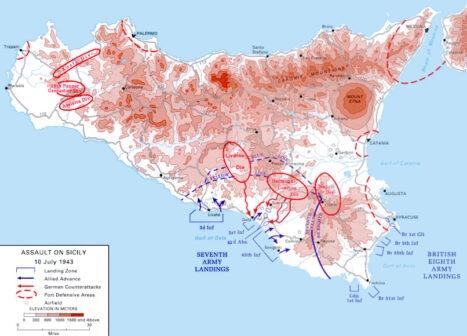 Mappa sbarco in Sicilia