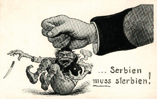 vignetta propagandistica contro la Serbia